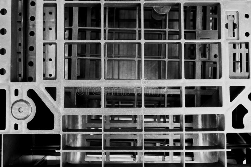 B&W plastic pallet close-up stock photography