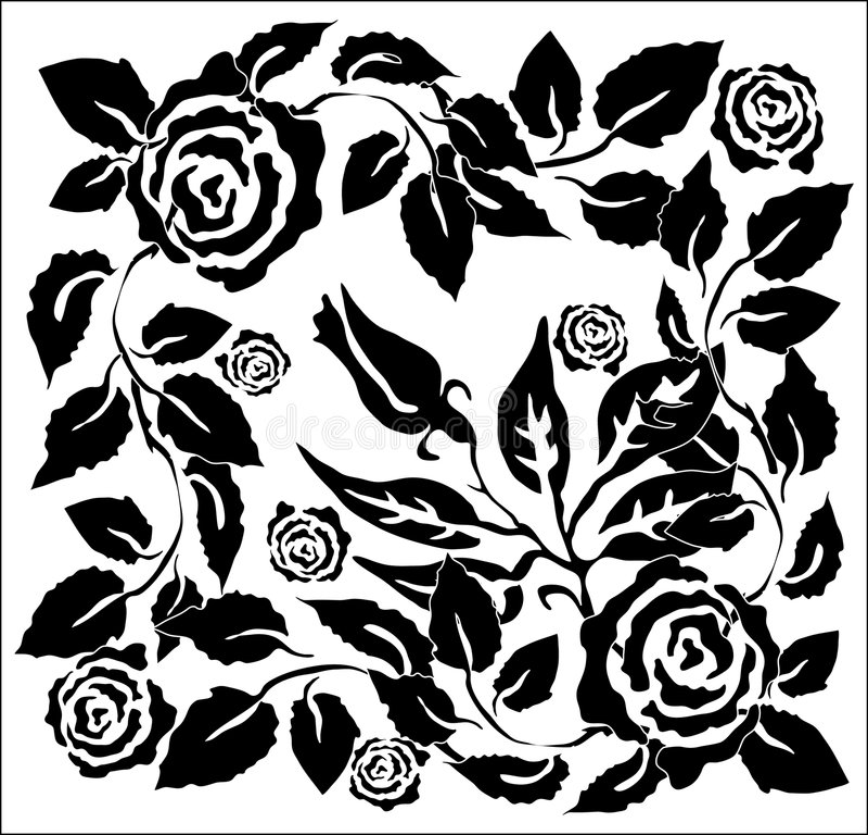 B&w rose vector illustration