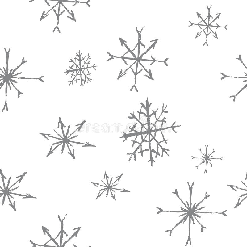 B&w senza cuciture del modello dei fiocchi di neve fotografie stock libere da diritti