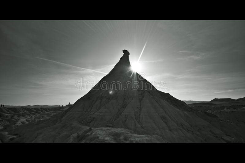 B&W-Wüste in Bardenas Reales, Navarra stockbilder