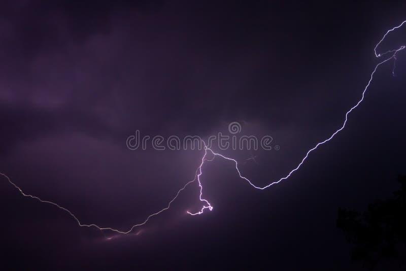 B?yskawica na purpurowym niebie obrazy royalty free
