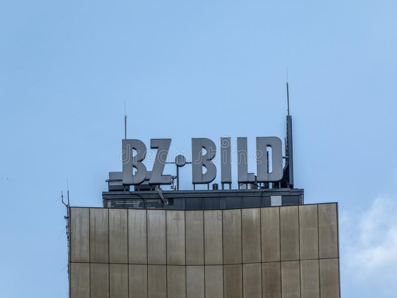 B.Z. - Bild newspapers signage, Berlin, Germany. Berlin, Germany - June 5, 2018: B.Z. - Bild signage on the top of a building, German tabloid newspapers royalty free stock photography