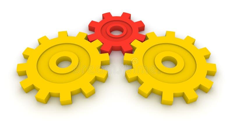 b2b-begreppet gears tre stock illustrationer