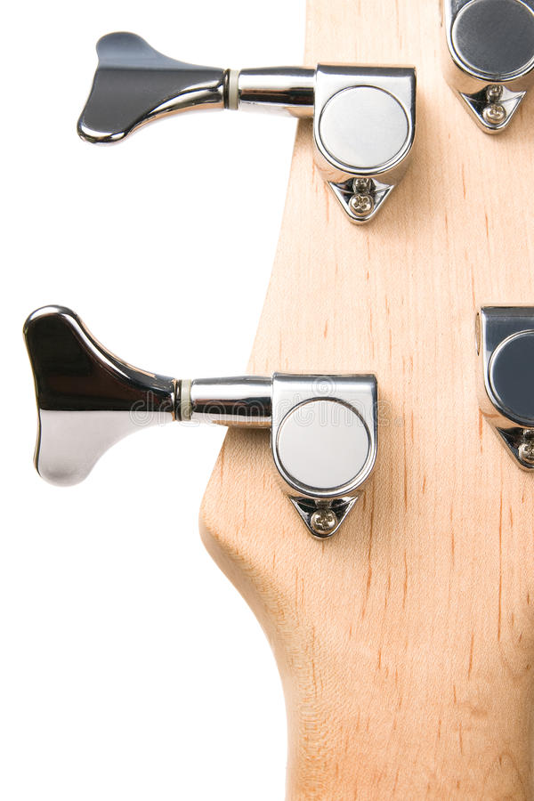 Baß-Gitarre Fingerboardkopf-Metallstifte lizenzfreie stockbilder