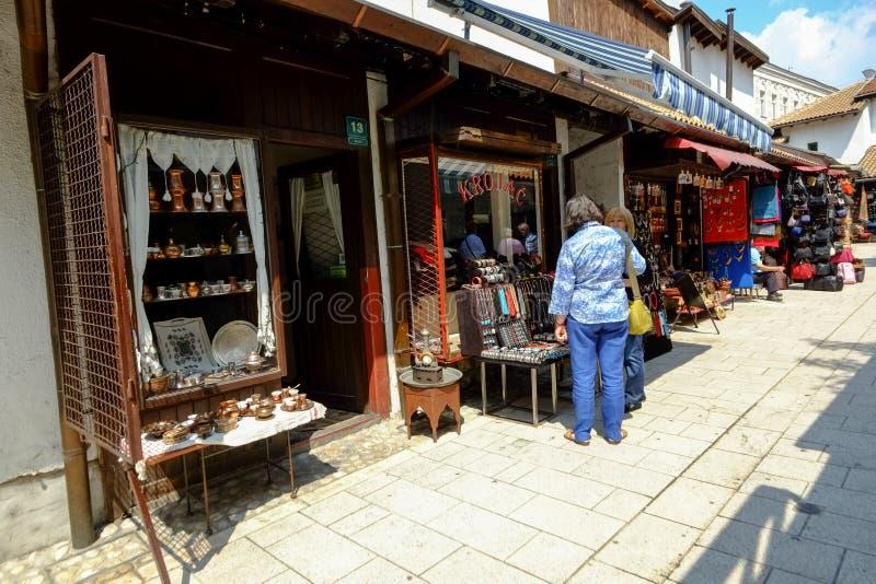 Baščaršija market in Sarajevo. Souvenir vendors in the famous market Baščaršija Sarajevo. Bosnia and Herzegovina royalty free stock image