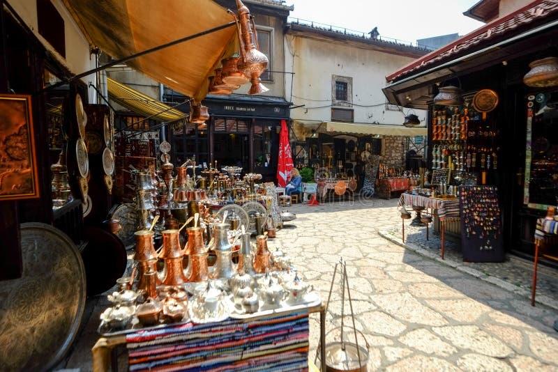 Baščaršija market in Sarajevo. Souvenir vendors in the famous market Baščaršija Sarajevo. Bosnia and Herzegovina stock images