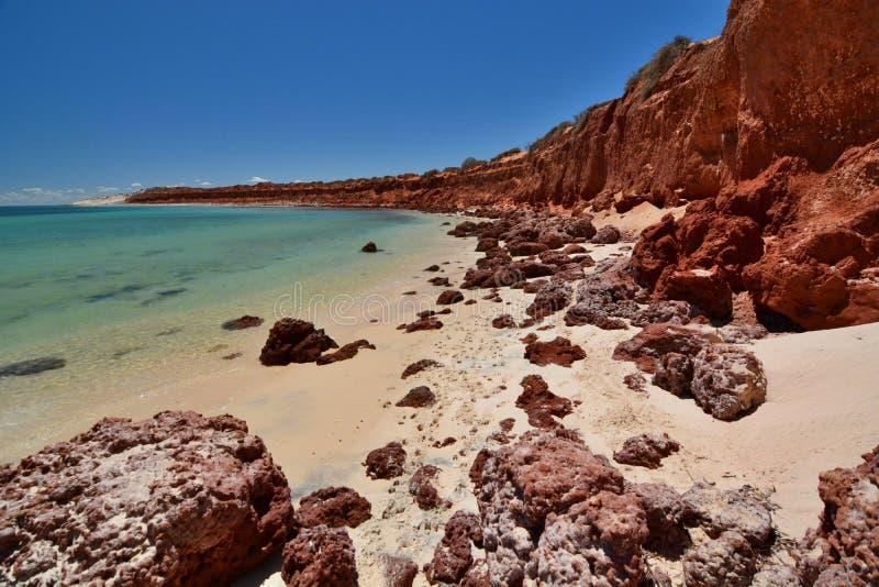 Baía da garrafa Parque nacional de François Peron Baía do tubarão Austrália Ocidental imagem de stock royalty free