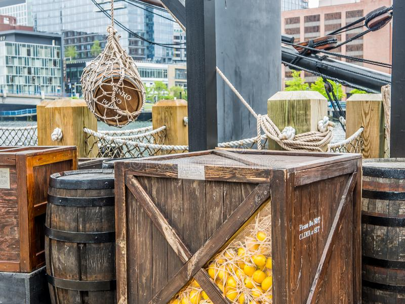 Baía de Boston, navio com a carga histórica fotografia de stock