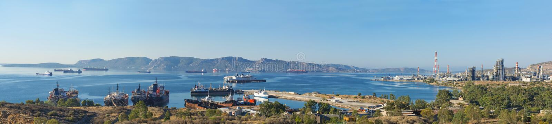 Baía de Eleusis, Attica - Grécia imagem de stock
