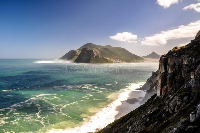 Baía de Hout vista de Chapman& x27; movimentação do pico de s - Cape Town, África do Sul fotografia de stock royalty free