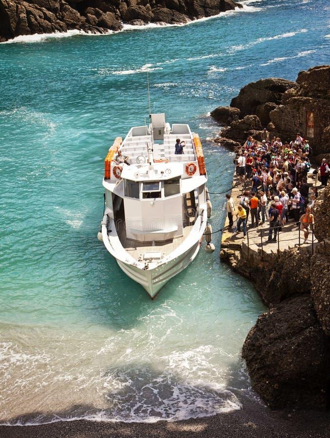 Baía de Liguria, Itália - de San Fruttuoso perto de Genoa fotografia de stock royalty free