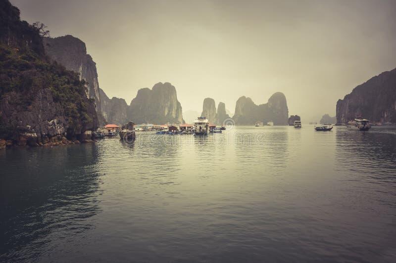 Baía de Misty Halong, Vietname imagem de stock