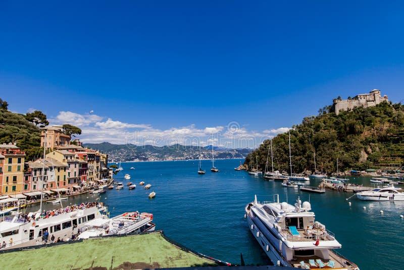Baía de Portofino em Itália foto de stock royalty free