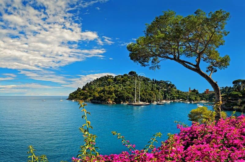 Baía de Portofino na costa Ligurian em Itália imagem de stock