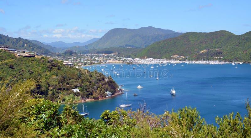 Baía de Waikawa & porto, sons de Marlborough, Nova Zelândia fotos de stock royalty free