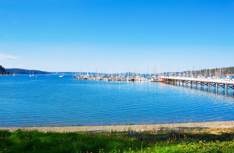 Baía do mistério, ilha de Marrowstone Península olímpica Estado de Washington imagem de stock