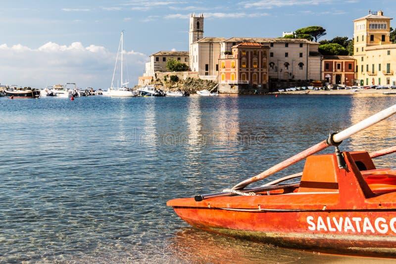 Baía do silêncio, Liguria, Itália imagens de stock