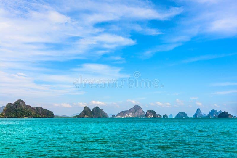 Baía-paisagem de Phang Nga, mar de Andaman, Tailândia sul foto de stock