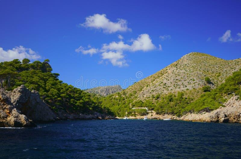 Baía pitoresca de Cala Murta em Mallorca do norte, península de Formentor, Pollensa, Majorca, Balearic Island, Espanha fotografia de stock royalty free