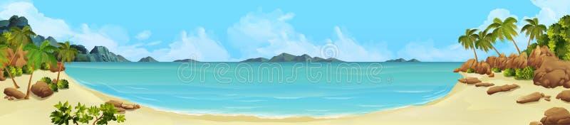 Baía, praia tropical ilustração stock