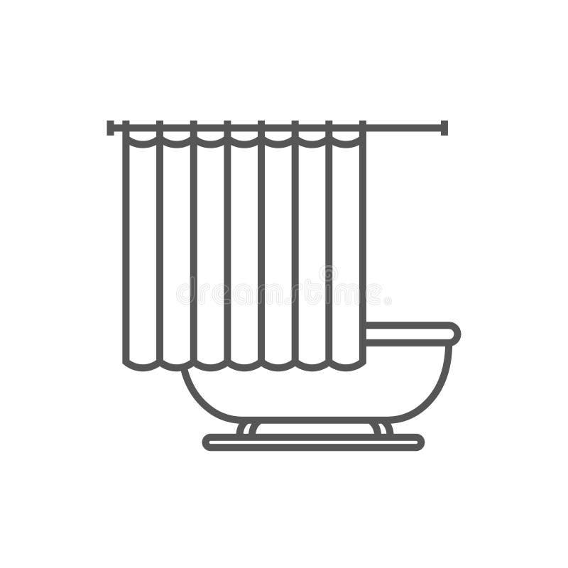 Bañera con el icono de la cortina de ducha en estilo linear stock de ilustración