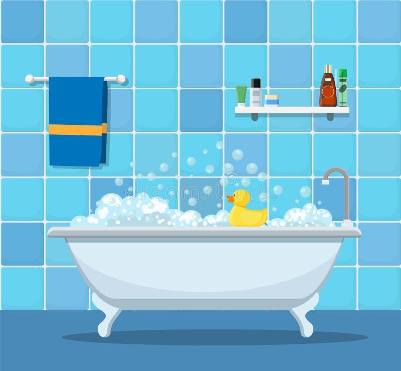 Bañera con las burbujas de la espuma libre illustration