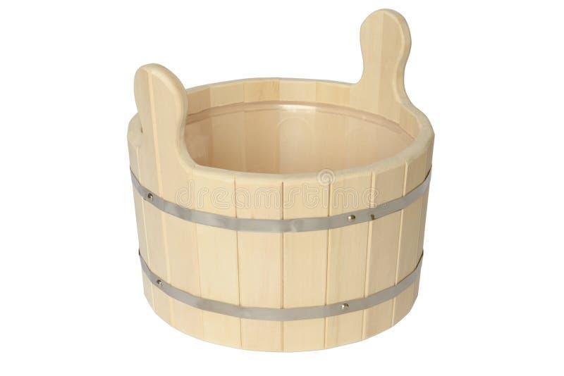 Bañera de madera con aros de metal foto de archivo libre de regalías
