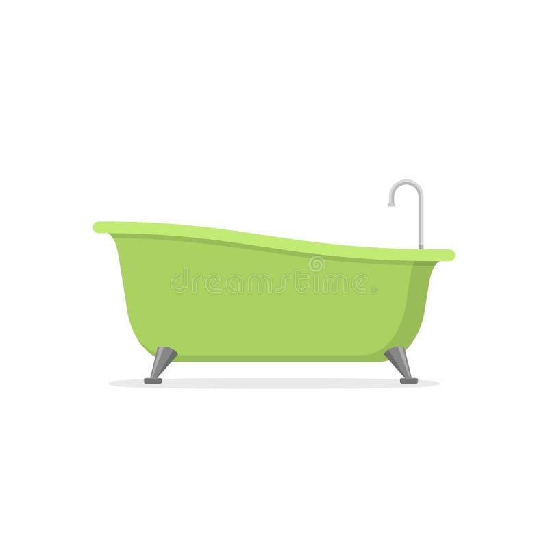 Bañera verde clásica aislada en el fondo blanco Tiempo del baño en estilo plano stock de ilustración