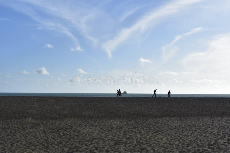 Bañistas que corren en la playa foto de archivo