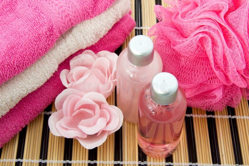 Baño coloreado color de rosa accesorio foto de archivo libre de regalías