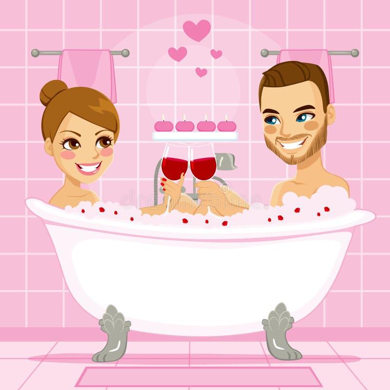 Baño de burbujas del rosa de los pares del amor stock de ilustración