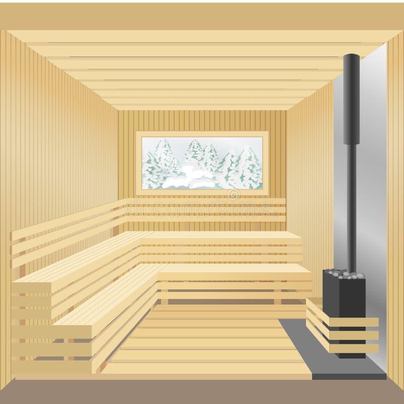 Baño de madera moderno de la sauna con la estufa y la ventana de piedra Ilustración del vector stock de ilustración