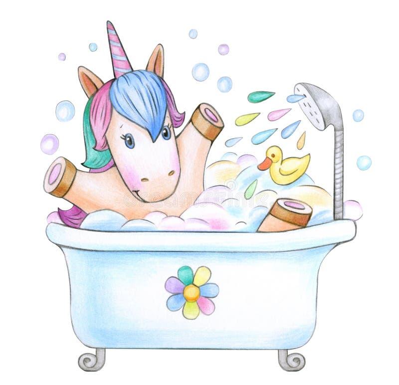 Baño de unicornio del bebé libre illustration