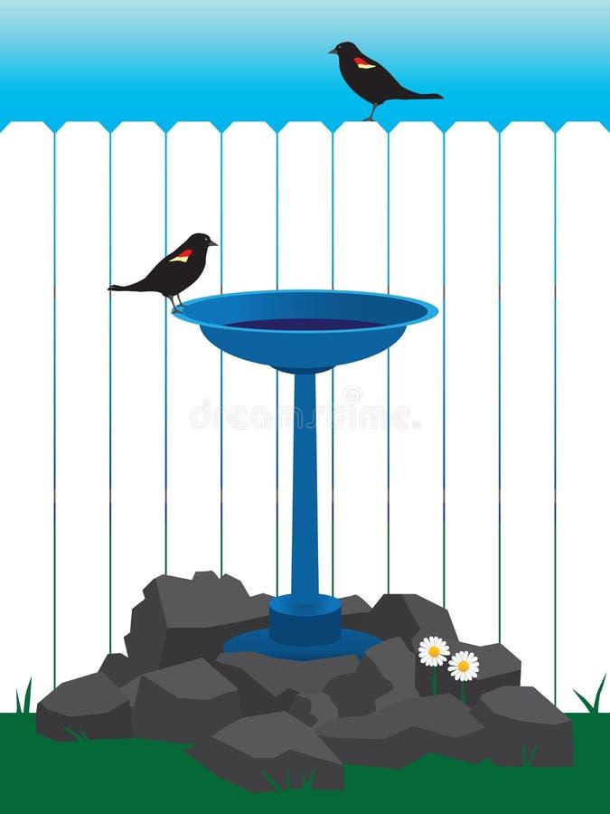 Baño del pájaro del patio trasero libre illustration