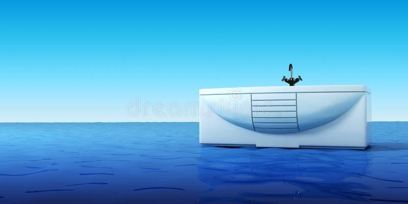 Baño en el mar stock de ilustración