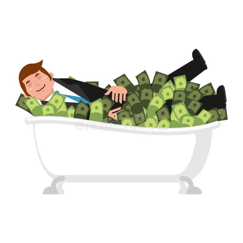 Baño feliz del hombre de negocios en dinero báñese de efectivo financiero afortunado stock de ilustración