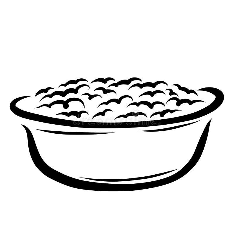 Baño para bañarse con espuma o un lavabo con pasta de levadura, o gachas de avena ilustración del vector