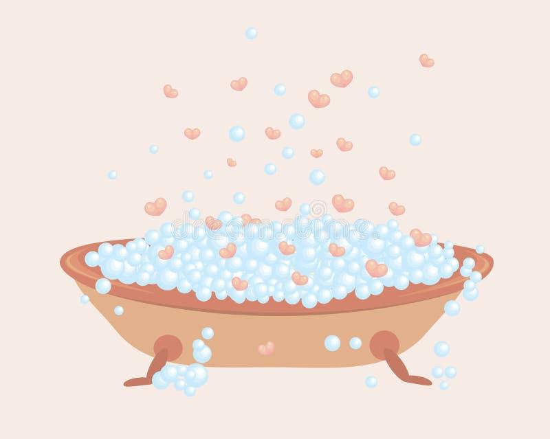 Baño por completo de burbujas y de corazones libre illustration