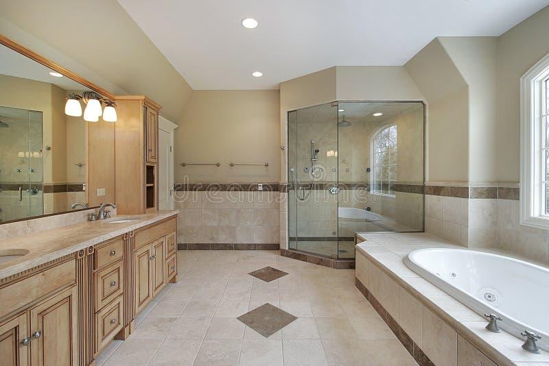 Baño principal con la ducha de cristal foto de archivo