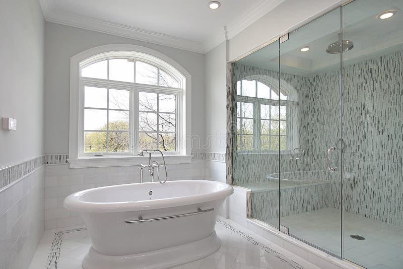 Baño principal con la ducha grande imagen de archivo libre de regalías