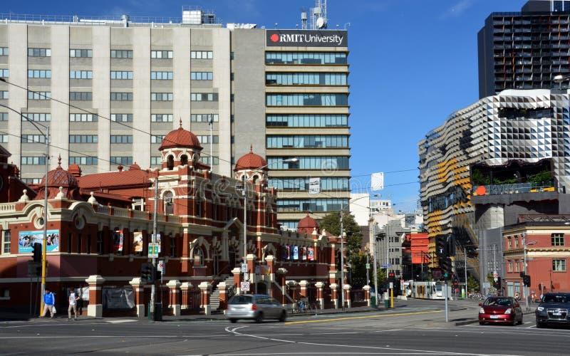 Baños públicos de Melbourne y edificios de la ciudad central imágenes de archivo libres de regalías