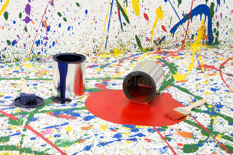 bałagan farbę. fotografia stock