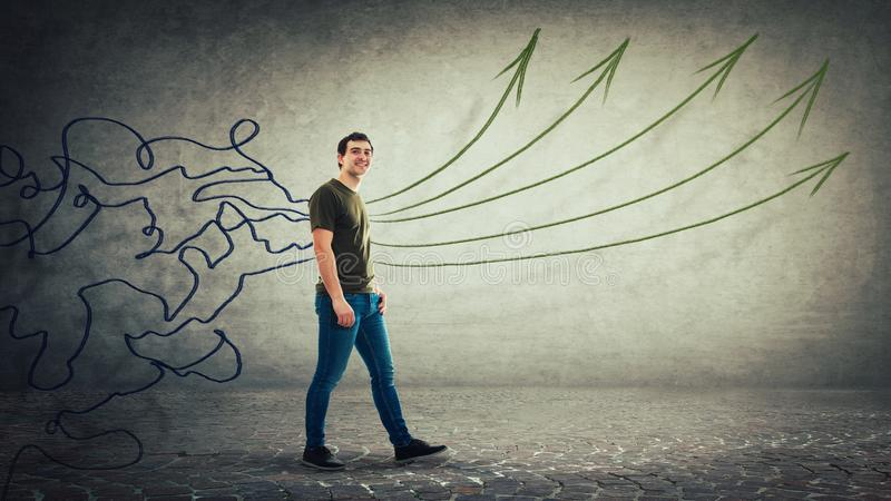 Bałagan linii transformata w proste strzały jako pomysły zdjęcie royalty free