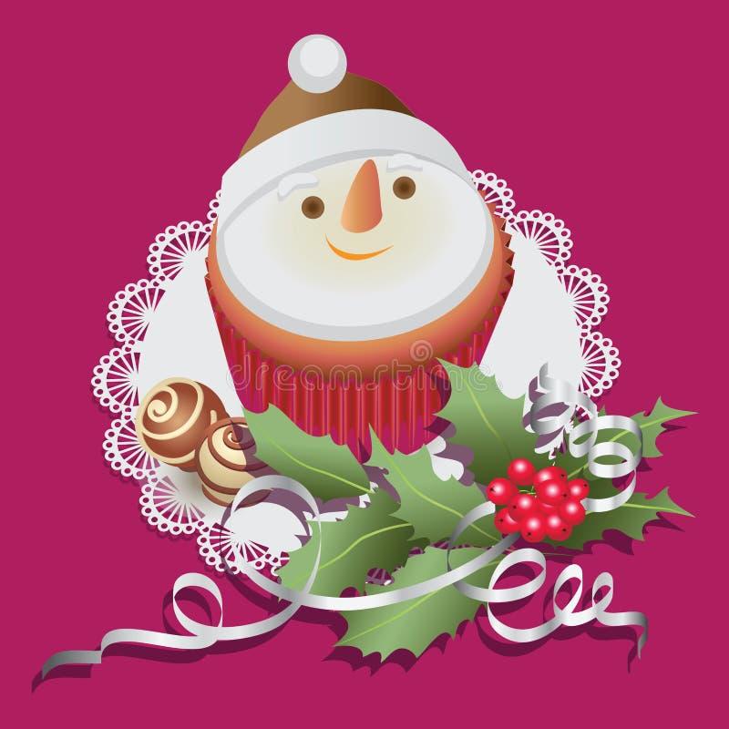 Bałwan Babeczka z czekoladowymi cukierkami i boże narodzenie gałąź holly ilustracja wektor