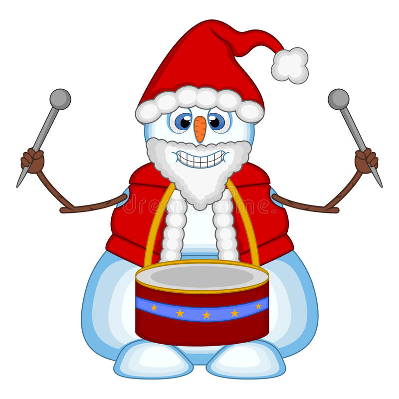 Bałwan bawić się bębeny jest ubranym Święty Mikołaj kostium dla twój projekta wektoru ilustraci royalty ilustracja