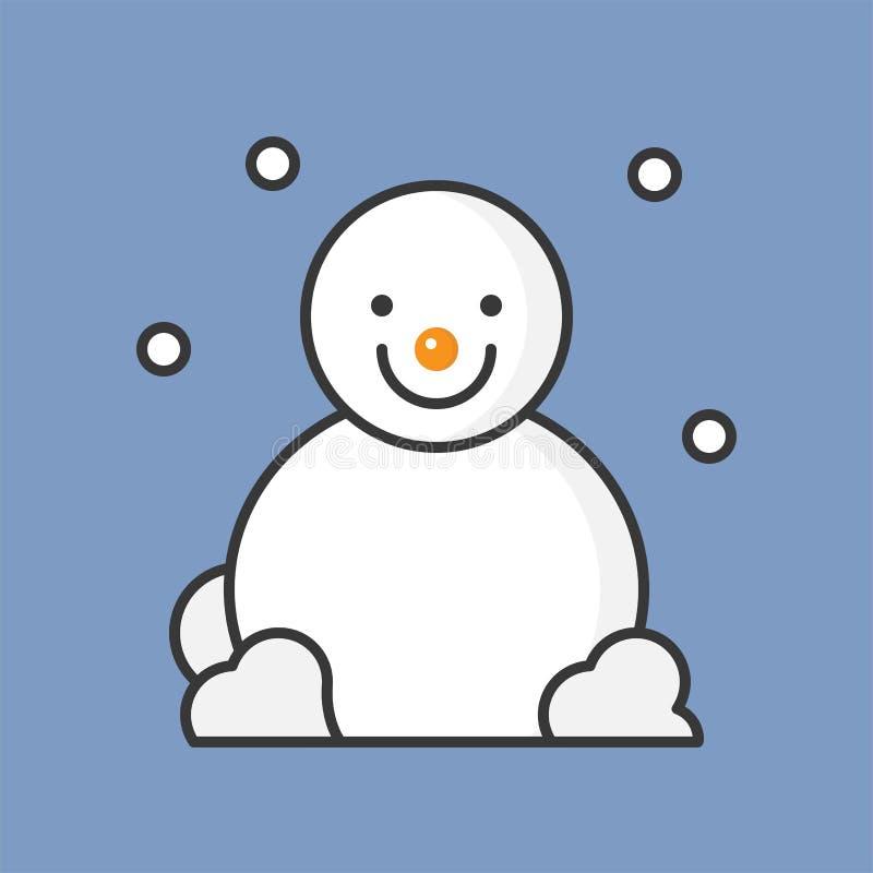 Bałwan i śnieżny spadek, wypełniająca kontur ikona dla Bożenarodzeniowego tematu royalty ilustracja