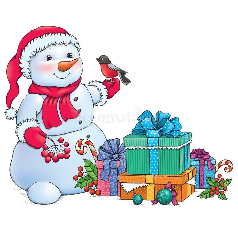 Bałwan i Boże Narodzenie prezenty ilustracja wektor