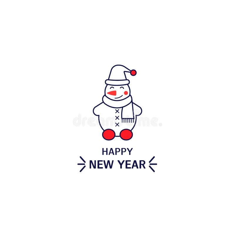 Bałwan ikony kreskowy styl Prosty element dla nowy rok karty, logo, druk na koszulce ilustracja wektor