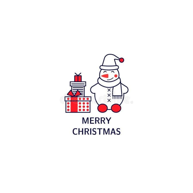 Bałwan, prezenty z tekstem Kartka bożonarodzeniowa z kreskowego stylu ikonami royalty ilustracja
