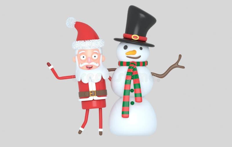 Bałwan & Santa gratulowania boże narodzenia ilustracja 3 d odosobniony ilustracji